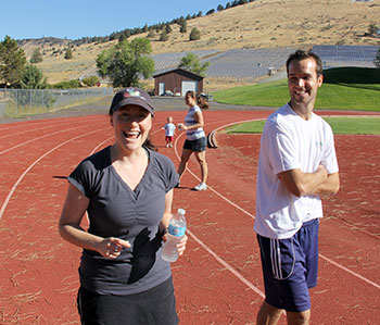 Dr. Brock Trej launched Walk With A Doc in Klamath Falls. He is pictured here with Dr. Joyce Hollander-Rodriguez, program director for Cascades East, during the first-ever walk.