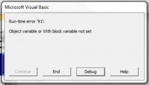 screen shot that shows run-time error 91 etc.