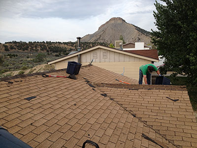 Removing  old roof .