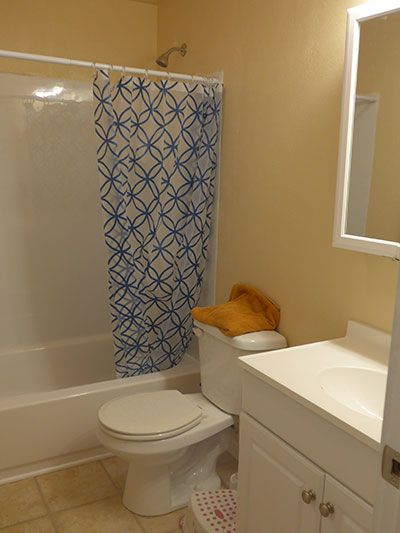 Upstairs bathroom after remodel.