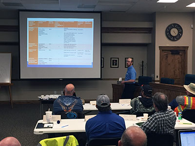 RCAC trainer, Ty Long, discusses contamination hazards at Rexburg Idaho Photo taken by Mike Boyd.