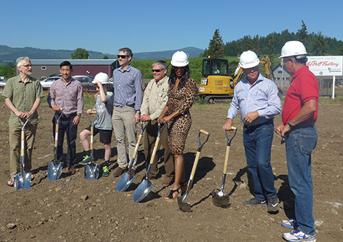 Group getting ready to break ground at the Puff Factory.