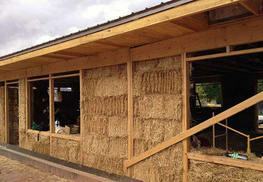 Straw bale home under construction.