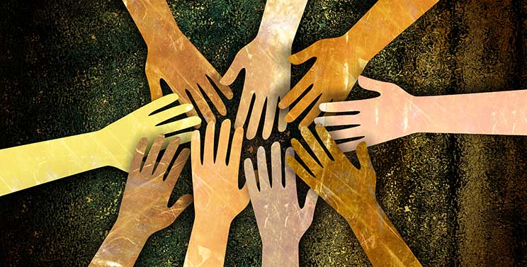 Hands of every color from diverse backgrounds represent diversity and inclusion at RCAC.