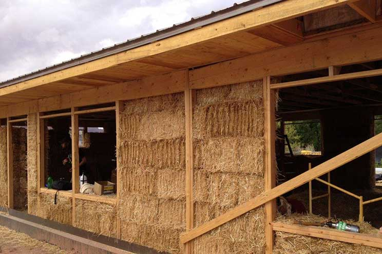 Straw bale home construction.