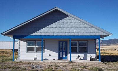 Front of zero energy solar home.