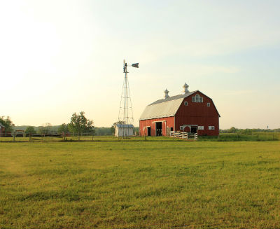 Indiana farm, red barn, windmill