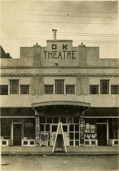 OK Theatre historic photo, black and white
