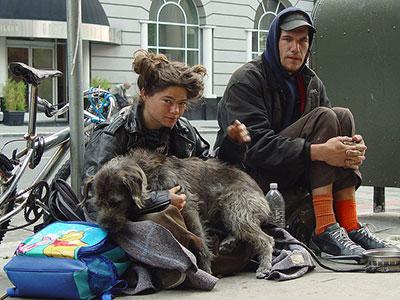 Homeless couple in San Francisco
