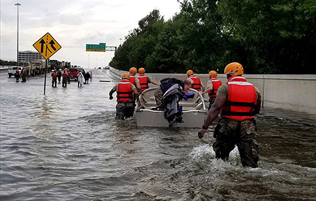 Flooded streets after Hurricane Harvey