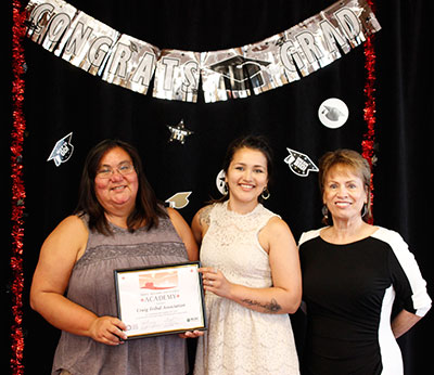 Anna Guthrie and Kari Mackie from Craig Tribal Association and Cielo Gibson, trainer.