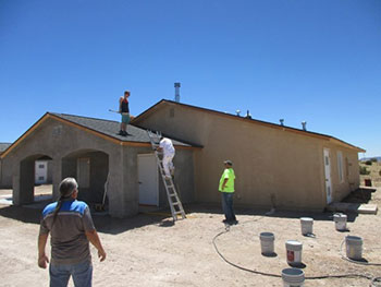 Painting one of the houses in Box Canyon.