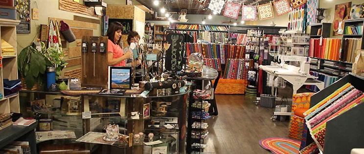 Tammy Eckhardt in her shop, Sew Pieceful