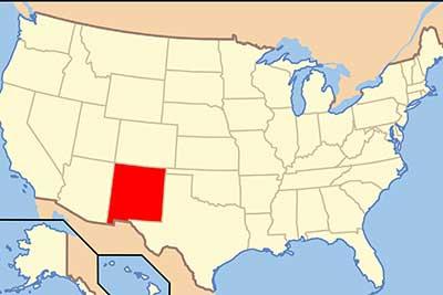 US map highlighting NM